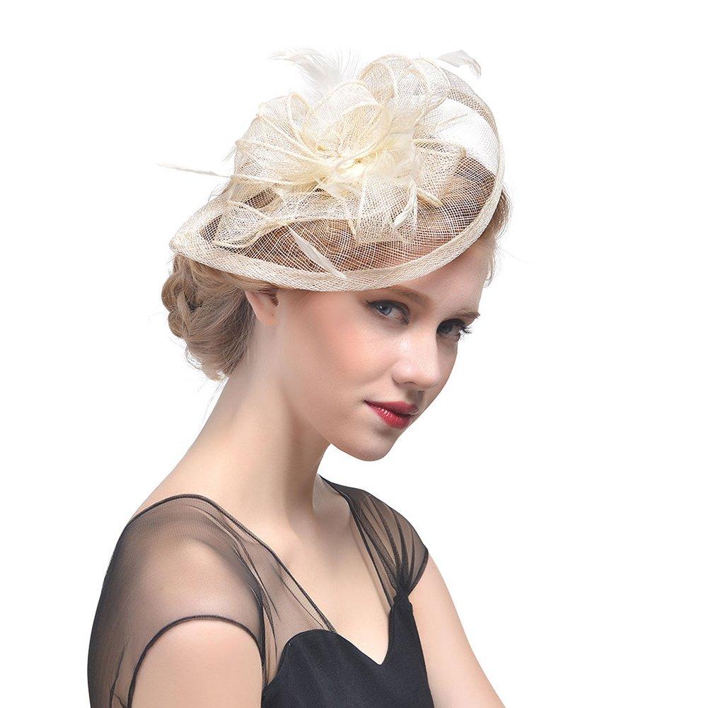 StageOnline Sombrero Tocado Pelo Elegante Pluma Clip Hat Boda Coctel Malla  Neto Velo Diadema para Mujer  Amazon.es  Hogar 79a8a72a3bf9