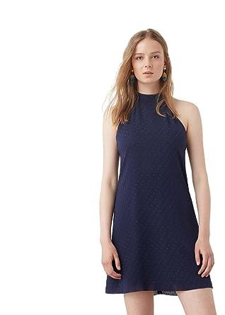 MANGO - Polka-dot textured Short dress - Size 12 - Color Dark Navy   Amazon.co.uk  Clothing 93b0dbeab