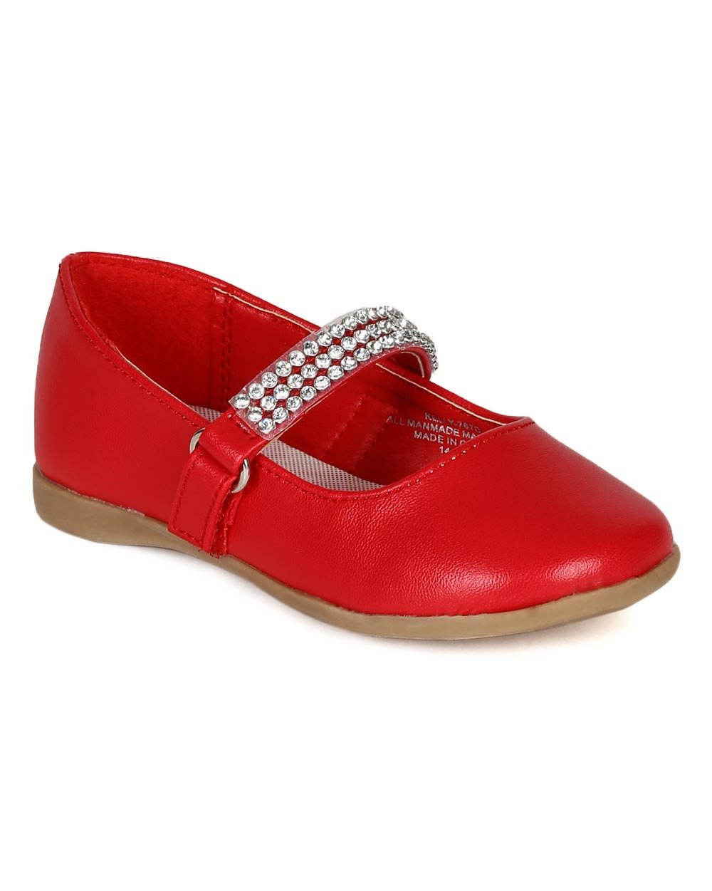 Leatherette Round Toe Rhinestone Mary Jane Ballerina Flat (Toddler/Little Girl) CA05 - Red Leatherette (Size: Toddler 4)