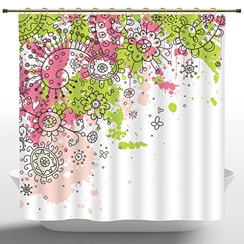 Fabric Shower Curtain by iPrint,Indian,Hand Drawn Sketchy Abstract Pastel Watercolor Image Print,Lime Green Light Pink and Hot Pink,Bath Curtain Design (72