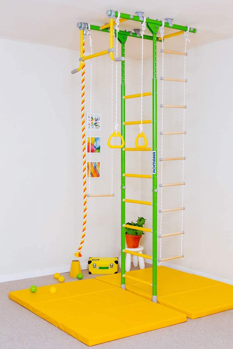 Comet 1 Kids Indoor Home Gym Swedish Wall Rope Ladder Rings Trapeze