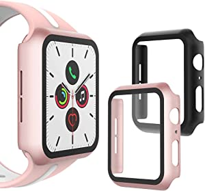 WD&CD (2 Pcs) Case Compatible with Apple Watch Series SE/6/5/4 44mm, Buit-in Ultra Thin HD Tempered Glass Screen Protector Overall Protective Cover for iwatch Series SE/6/5/4, Black & Rose Gold