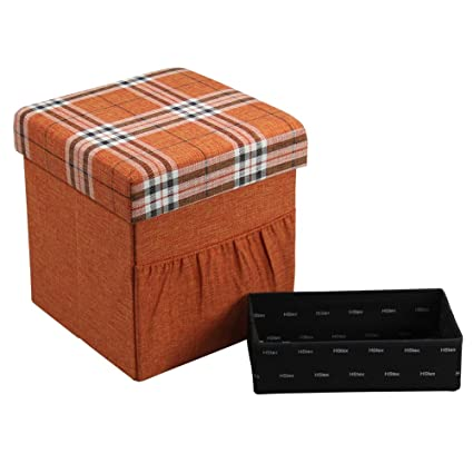 Gentil HStex Folding Storage Ottoman Cube With Wooden Tray,Linen  Fabric,Orange,15u0026quot;