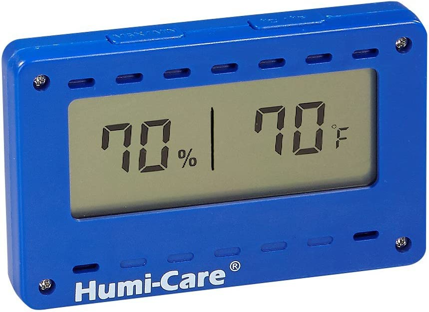 Humi-Care Rectangular Hygrometer and Thermometer Cigar Humidor or Home Humidity