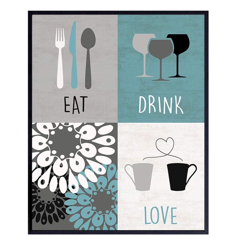 Kitchen, Dining Room Wall Art Decor, Cafe and Restaurant Poster - 8x10 Retro Floral Shabby Chic Home Decoration - Unique Gift for Cook, Chef, Gourmet - Blue - Coffee Mug, Wine Glasses - UNFRAMED