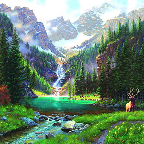 Elk at The Waterfall 1000 Piece Jigsaw Puzzle by SunsOut