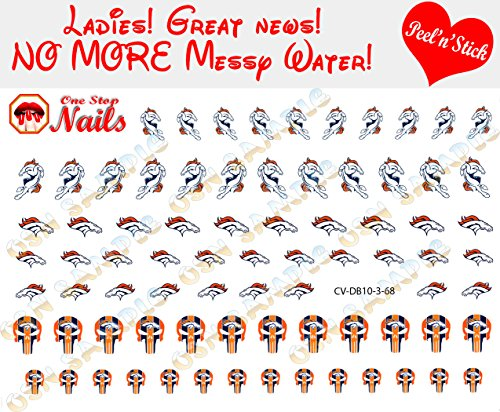 Broncos Clear Vinyl PEEL and STICK (NOT Waterslide) nail decals/stickers V3 set of 68. (A1) -