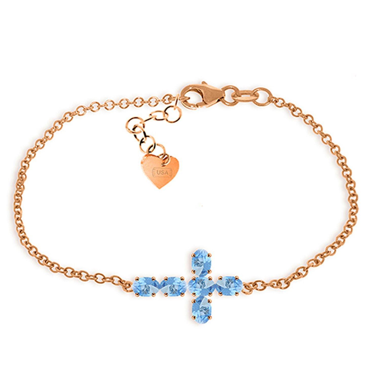 ALARRI 1.7 CTW 14K Solid Rose Gold Cross Bracelet Natural Blue Topaz Size 8 Inch Length