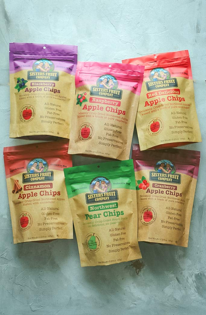 Sisters Fruit Company, Apple & Pear Chips, All Natural, No Preservatives, Fat-Free, Variety Pack (Six 2.25 OZ.Bags) by Sisters Fruit Company