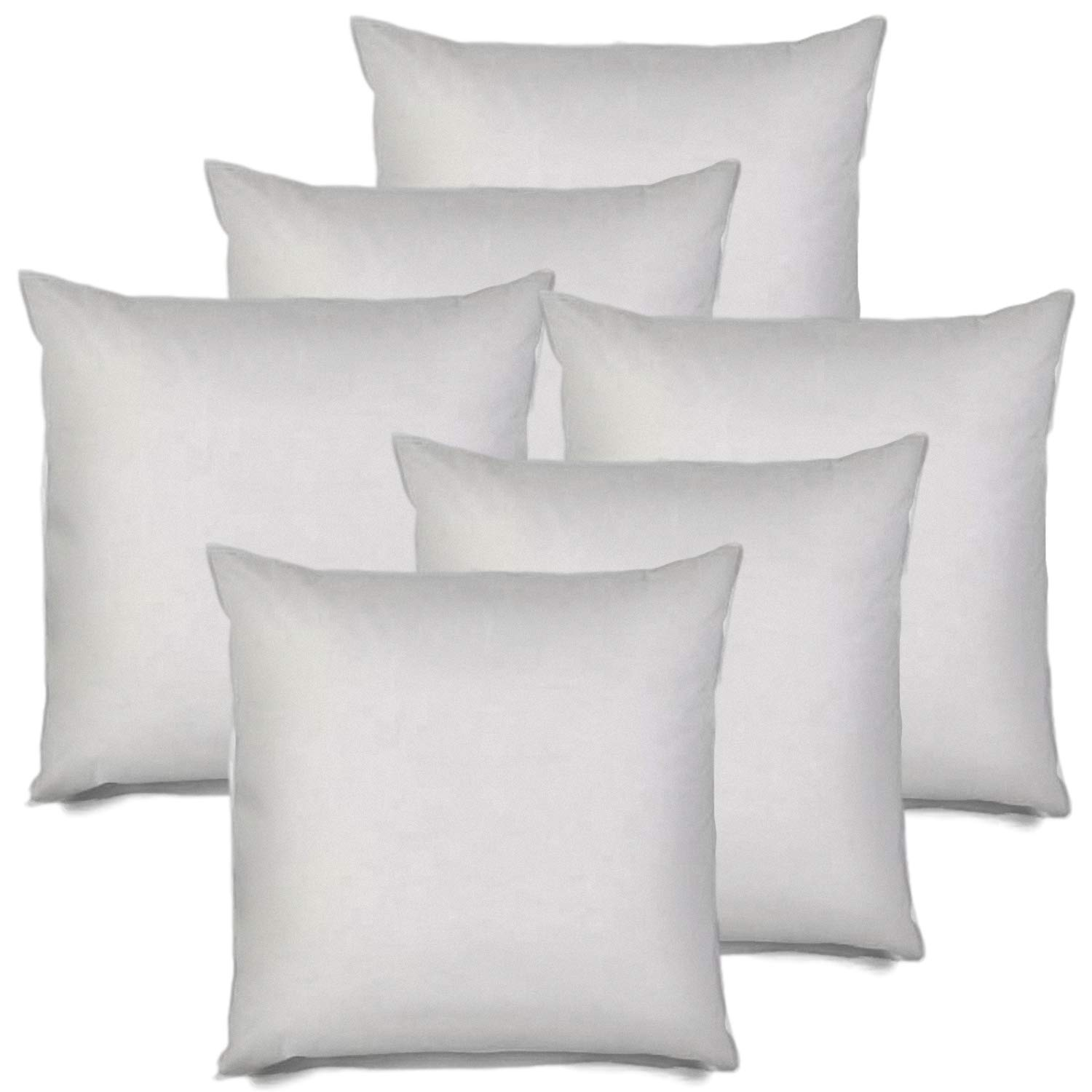 MSD 6 Pack Pillow Insert 20X20 Hypoallergenic Square Form Sham Stuffer Standard White Polyester Decorative Euro Throw Pillow Inserts for Sofa Bed - Made in USA (Set of 6) - Machine Washable and Dry