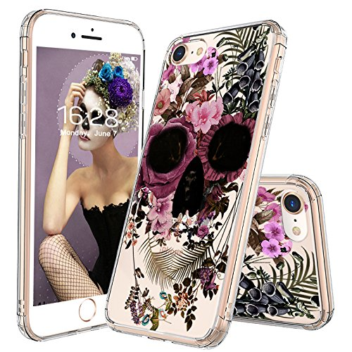 iPhone 7 Case, iPhone 8 Case, iPhone 7 Case for Girls, MOSNOVO iPhone 7 Floral Skull Flower Clear Design Printed Hard Back Cover with TPU Bumper Protective Case for iPhone (Skull Design Cover Case)