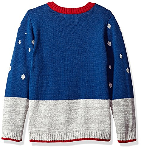 Blizzard Bay Big Boys' Snowman with Hat Xmas Sweater, Blue Combo, 12/14 M by Blizzard Bay (Image #2)