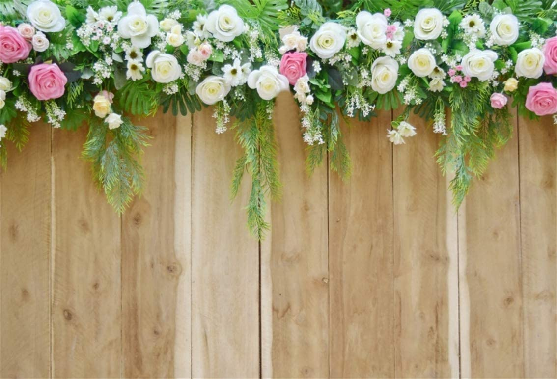 Zhy Wooden Door Backdrop 7X5FT Flower Wedding Engagement Couple Lover Dating Photography Background YouTube Photo Studio Prop Customizable LLST189