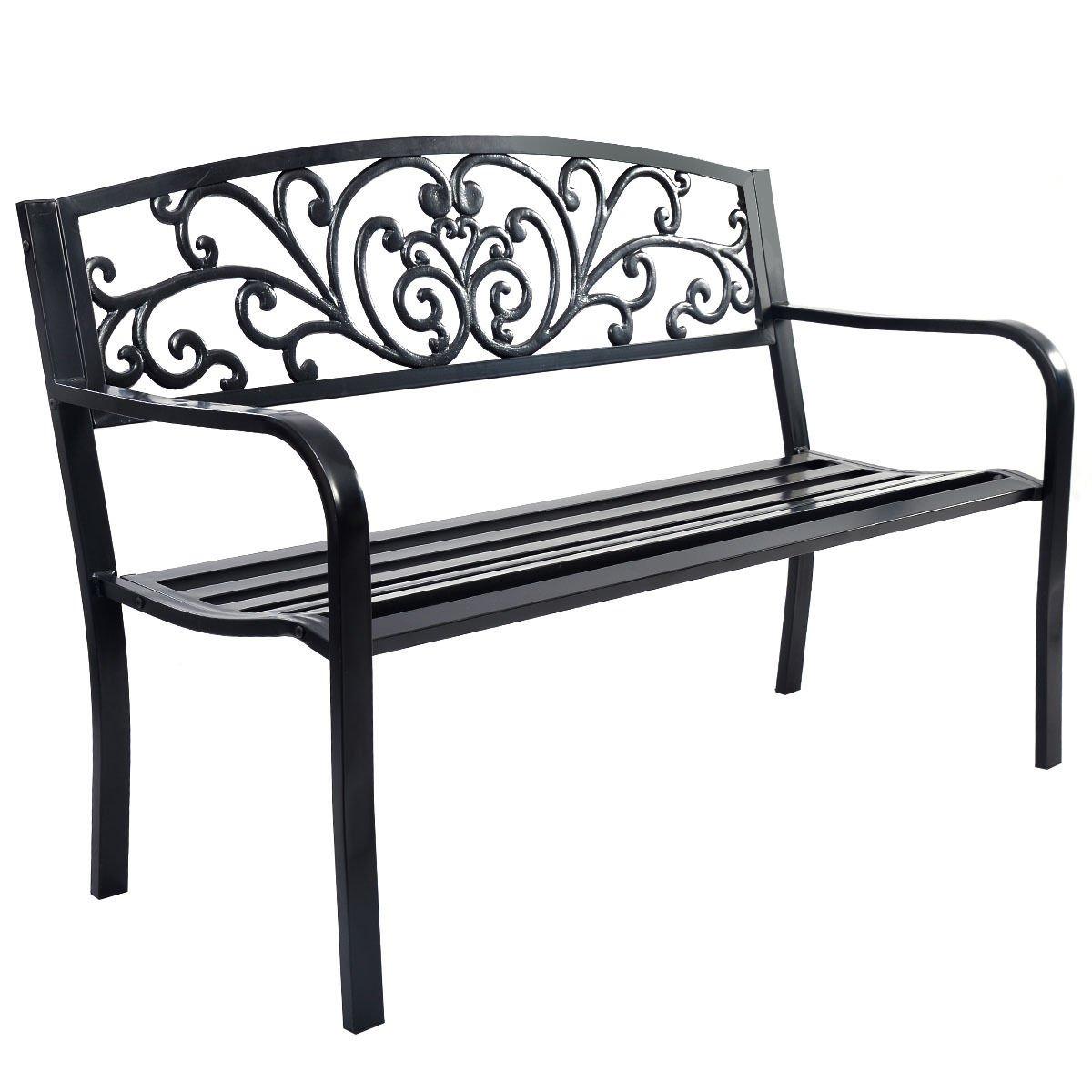 Long 50'' Patio Park Garden Bench Porch Chair Steel Frame Cast Iron Backrest