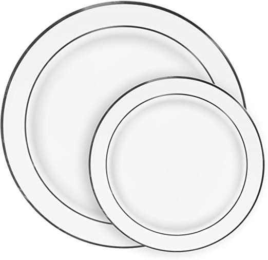 """10/"""" Square Dinner Plates White//Silver Rim Duty Look Real Wedding-Party 120 ct"""