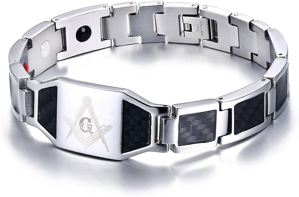 Stainless Steel Black Carbon Fiber Enamel Masonic Freemason Magnetic Bracelets for Men, Silver