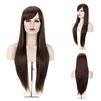 MelodySusie Dark Brown Long Straight Wig - 31 inches Silky Long Straight  Brown Wig With Bangs a6da23a80