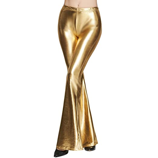 70s Outfits – 70s Style Ideas for Women Women Shiny Metallic Flare Leggings Long Wide Leg Pants Slim High Waist Bell Bottoms Vintage 70s Disco Yoga Trousers $13.69 AT vintagedancer.com