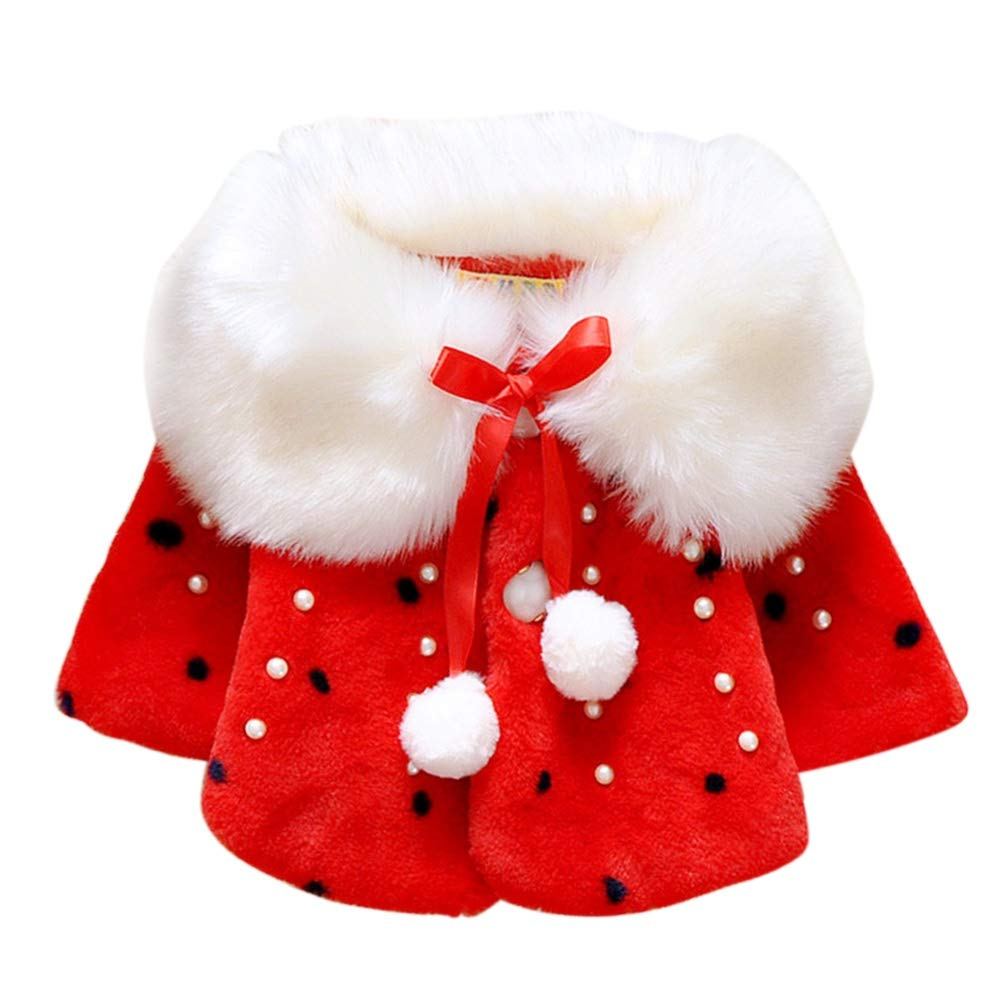 Brightup Baby Girl Faux Fur Warm Winter Cape Cloak Coat Outwear