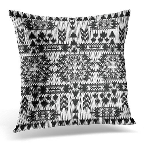 TOMKEYS Throw Pillow Cover Black Aztec Knitted Navajo Pattern White Sweater Abstract Decorative Pillow Case Home Decor Square 18x18 Inches - Maya Sweater Cotton