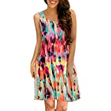 Women Dress-Han Shi Summer Casual Floral Printed Swing Sundress with Pocket