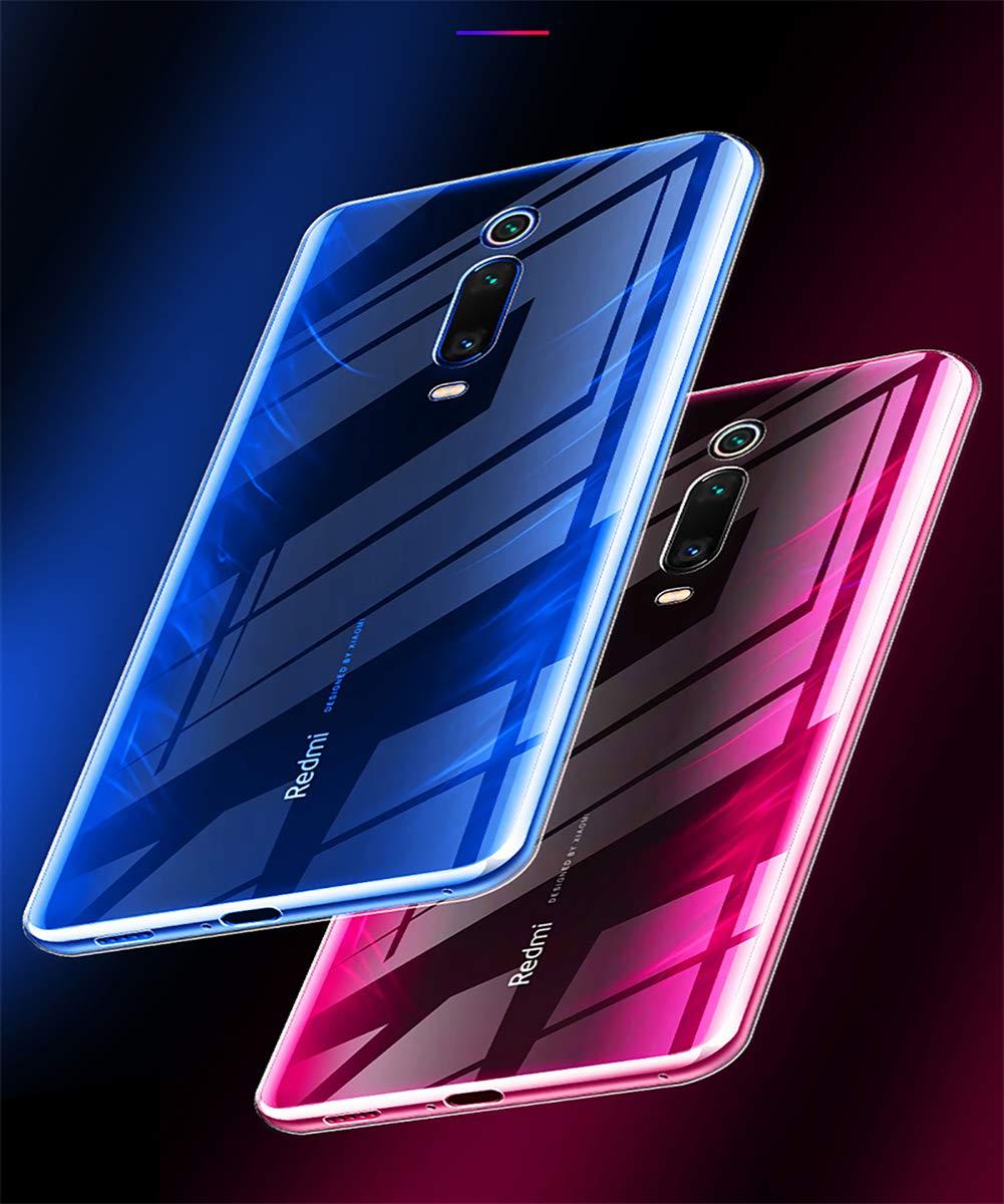 AILRINNI Coque pour Xiaomi Mi 9T/Mi 9T Pro + Verre trempé Protection écran, Souple Etui Transparente Silicone TPU Bumper Housse de Protection pour Xiaomi Mi 9T/Mi 9T Pro