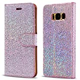Samsung Galaxy S7 Edge Case, LCHULLE Pearl Spots Bling Glitter Slim PU Leather Flip Case Silicone Back Cover With Stand Wallet Card Slots Magnetic Closure Book Cover (Rose Gold)