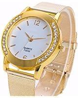 Dressin Womens Geneva Watch, Women Fashion Crystal Golden Stainless Steel Analog Steel Band Quartz Wrist