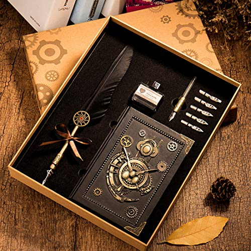 HENHEN Feather Quill Pen Set - 100% Hand Craft - Steampunk Quill Pen and Notebook Set, in Gift Box by HENHEN (Image #6)