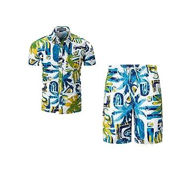 3495f8d74e58 Allywit Fashion Mens Casual Short Sleeve Shirt and Shorts 2 PCS Set (Shirt  + Short