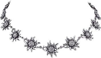 SIX Oktoberfest Damen Halskette, Trachtenschmuck, Edelweiß, Blumen, Metall, Strasssteine, Silber (758-641)