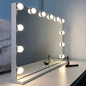 WAYKING Makeup Mirror with Lights, Hollywood Lighted Vanity Mirror with Touch Screen Dimmer, Tabletop Mirror with USB Charging Port, 3 Color Lighting Modes, White (H17.3 X L22.8 Inch)