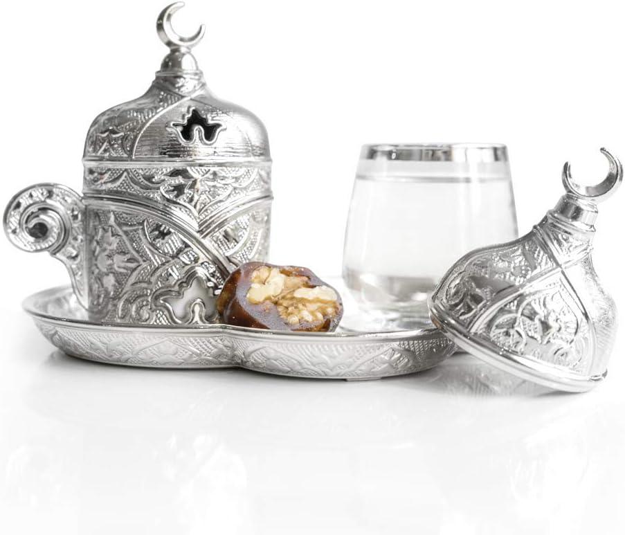 Set di 1 tazzina da caff/è in porcellana e ottone argentato arabo greco stile turco