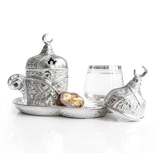 Juego de 1 platillo de café de porcelana y latón plateado otomano ...