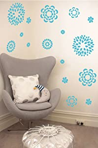 Flower Pattern Wall Decal - Removable DIY Vinyl Sticker Girls Room Art Home Decor Graphic Transfer (Geyser Blue, 19x24 inches)
