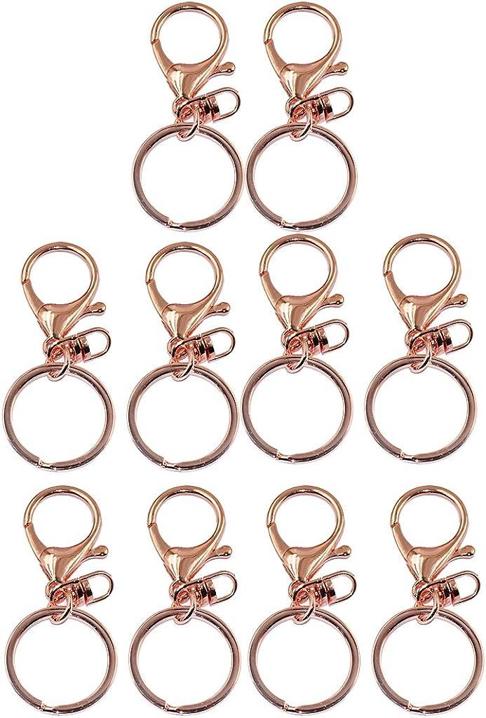 Hellery 10pcs 65mm Rosafarbenes Goldhummer Trennt Triggerclipschl/üsselring Mit Geteiltem Ring
