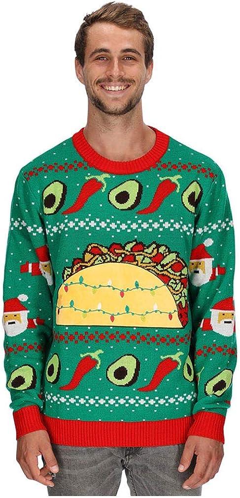 Taco Ugly Christmas Sweater for Men and Women Funny Taco Santa Xmas Sweater