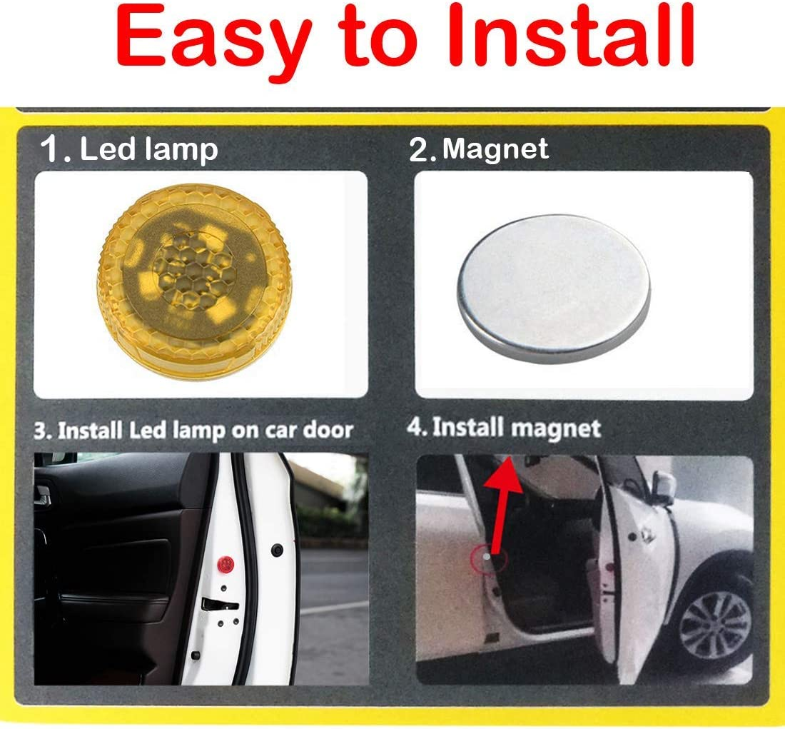 4 Pack Car Door Warning Lights Orbeor Led Open Safety Lights with Red Strobe Flashing Magnetic Waterproof Wireless Anti-Collision Safety Warn Lights Auto On//Off