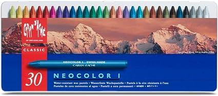 Caran Dache Neocolor I - Juego de ceras de color (30 unidades, caja metálica): Amazon.es: Oficina y papelería