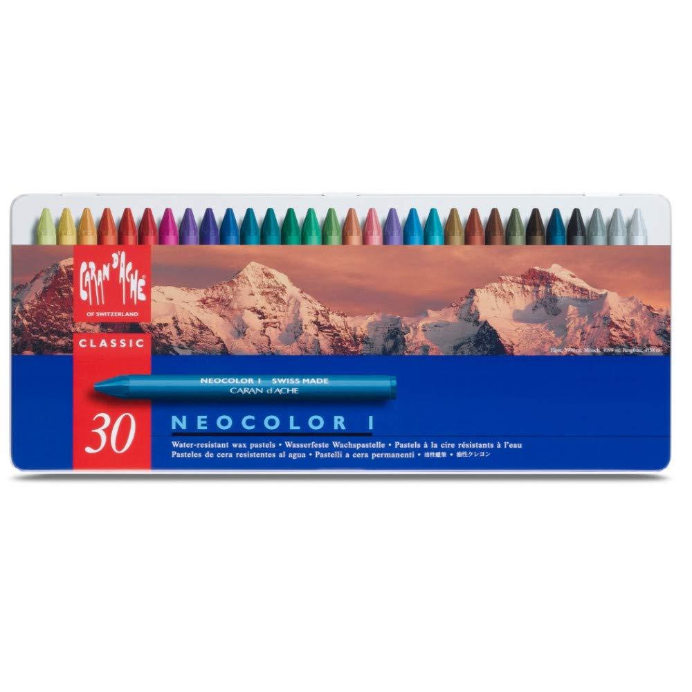 Neocolor I Water-Resistant Wax Pastels, 30 Colors by Caran d'Ache
