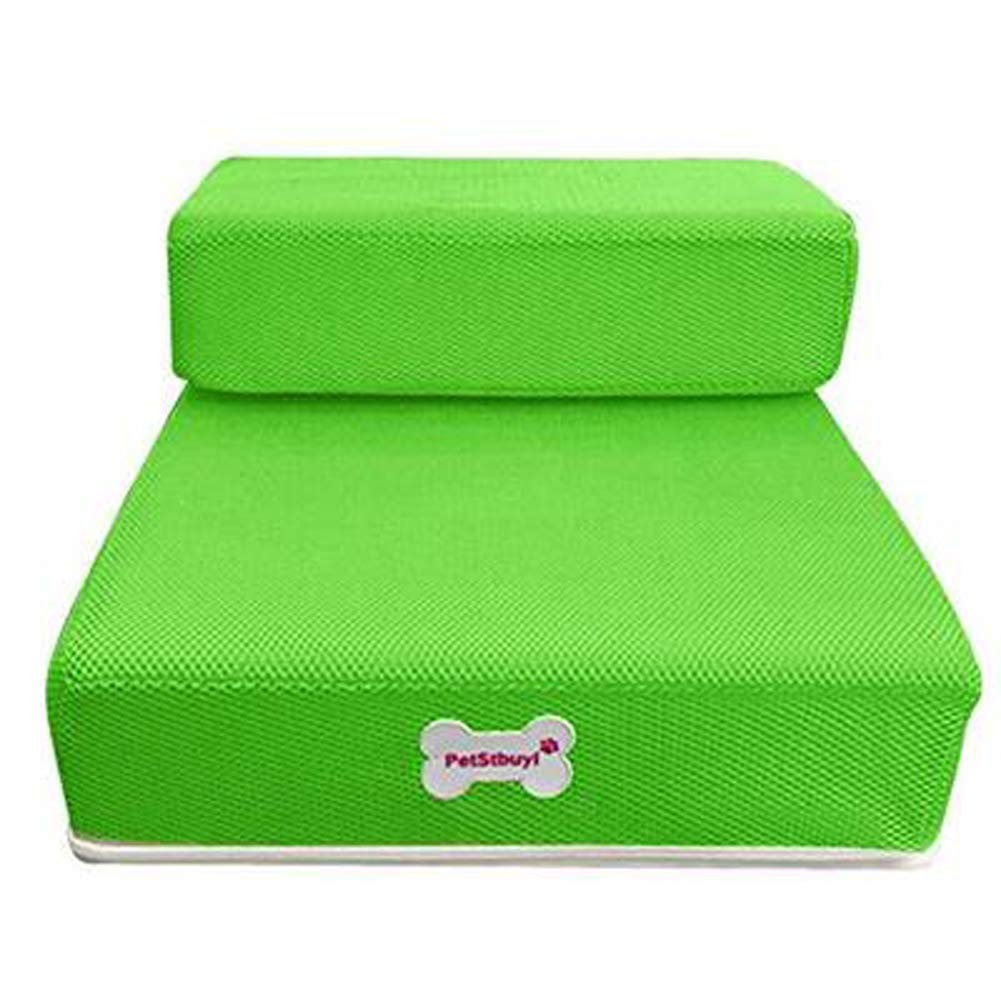 005  Green L  674010 cm 005  Green L  674010 cm Kicat® Dog Stairs Steps Breathable Mesh Pet Steps Foldable 2 Levels Stairs Removable (L  67  40  10 cm, 005  Green)