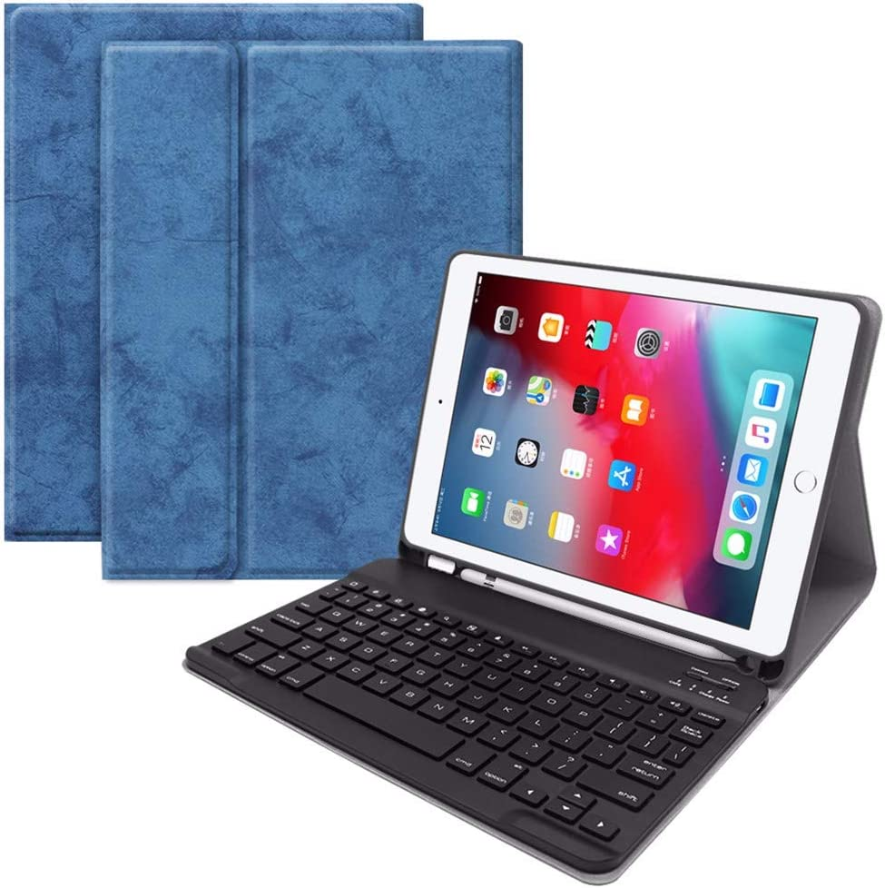 Black Onefa Foldable Keyboard,Blueteeth Keyboard Premium Leather Keyboar for iPad Pro 9.7