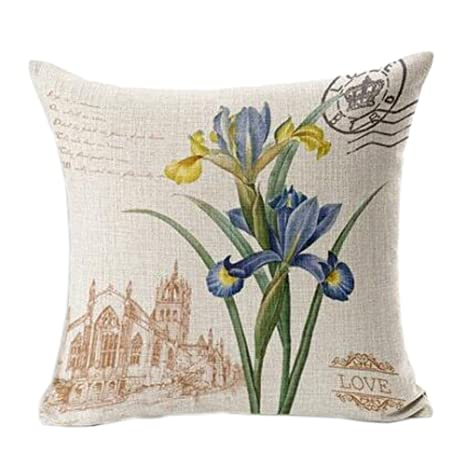 Amazon.com: Funda de cojín decorativa de lino y algodón ...