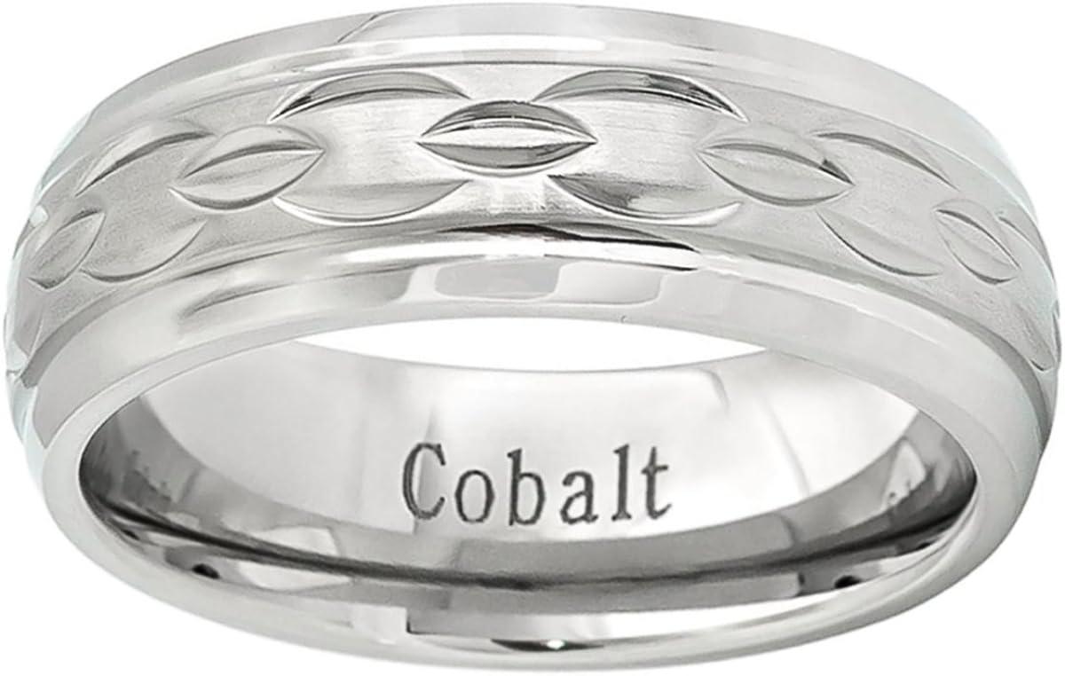 Personalized Inside Engraving Cobalt Wedding Band Ring 8mm Brushed Center Carved Chain Design