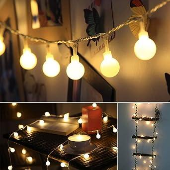 Garland Lights Exterior Interior, ECOWHO 40LED Bombilla Globo Bola Luz Batería Fariy Luces para jardines, casas, bodas, fiesta de Navidad (blanco cálido): Amazon.es: Iluminación