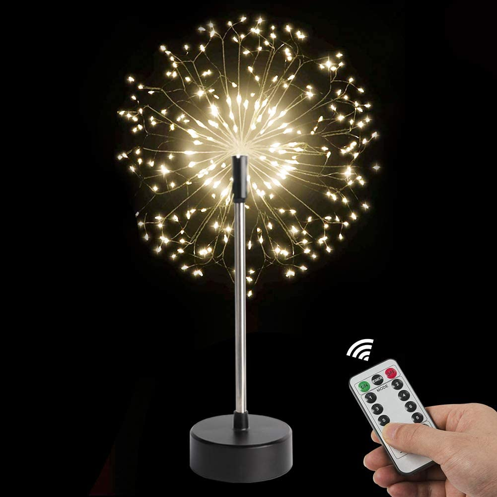 S SUNINESS 120 LED Starburst Lights - Firework Lights Battery Operated, Remote Control 8 Modes Xmas Christmas Decorative Copper Wire Lights (2 Pack-Fireworks Table Lights)