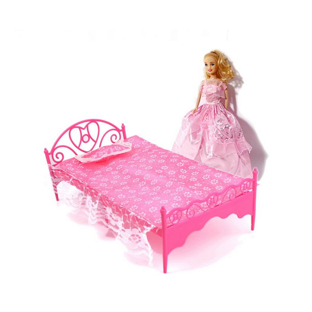 Amazon com  Topseller Plastic Mini Bed with Pillow and Sheet for Barbie  Dolls Dollhouse  Toys   Games. Amazon com  Topseller Plastic Mini Bed with Pillow and Sheet for