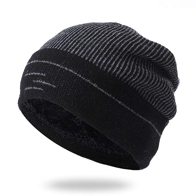 Long Keeper Wool Velvet Knit Beanie Men Women Winter Skiing Warm Hats Cap  (Black) 41e986b68880
