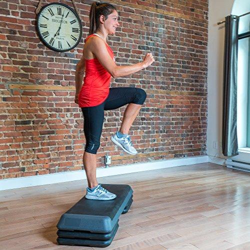 Step fitness 110cm con 3 niveles de ajuste de altura (10/15/20cm), Plataforma de ejercicio profesional, step largo para gimnasio en casa y entrenamiento ...