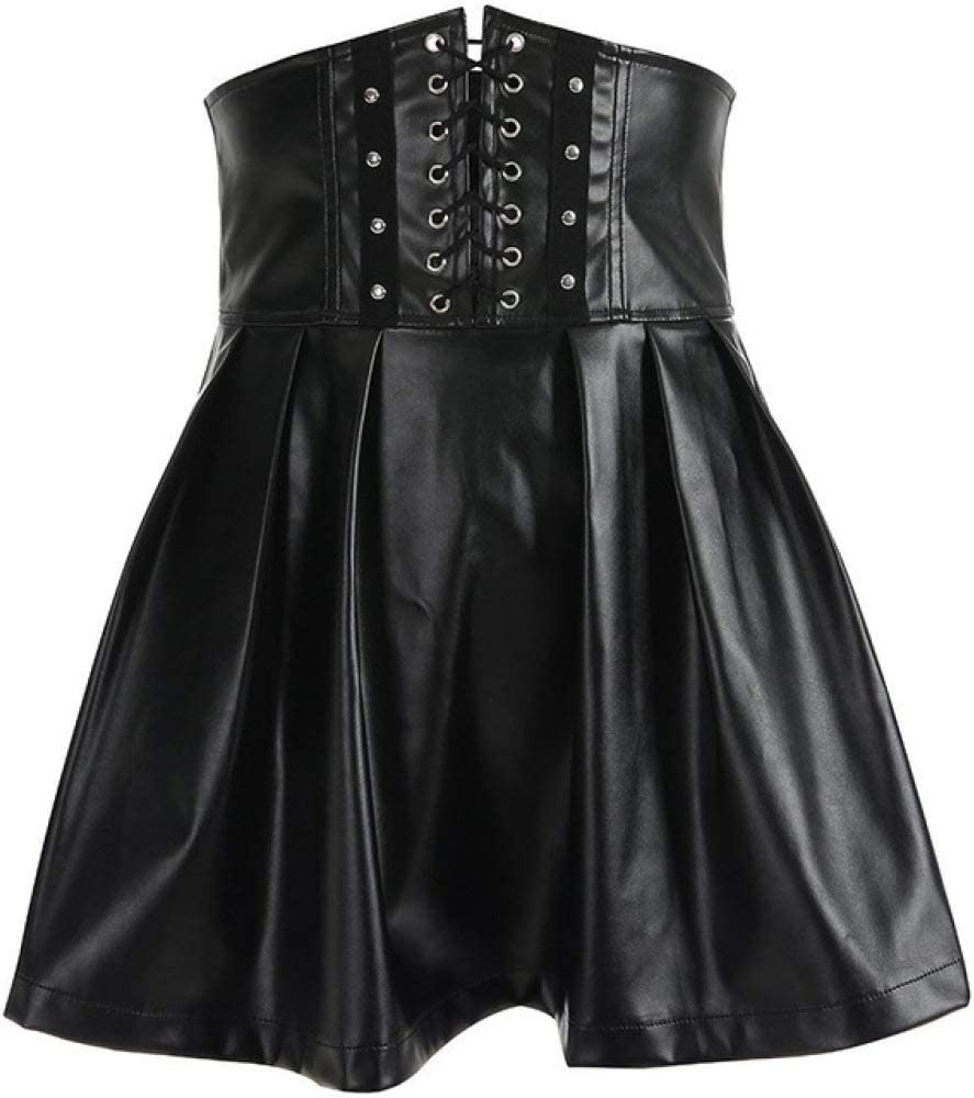 BOOSSONGKANG Vestido Faldas de Mujer Gótico Harajuku VendajeCuero Coreano Moda Negro Mini Faldas Plisadas 2020 Summer Party